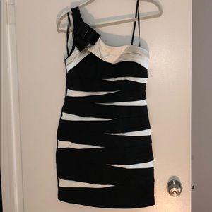Black & White One Shoulder Cocktail Dress